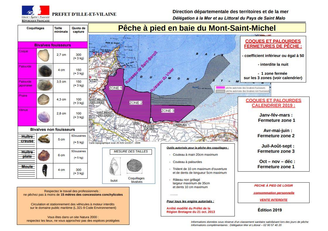 Carte zone peche a pieds baie du mont st michel 2019