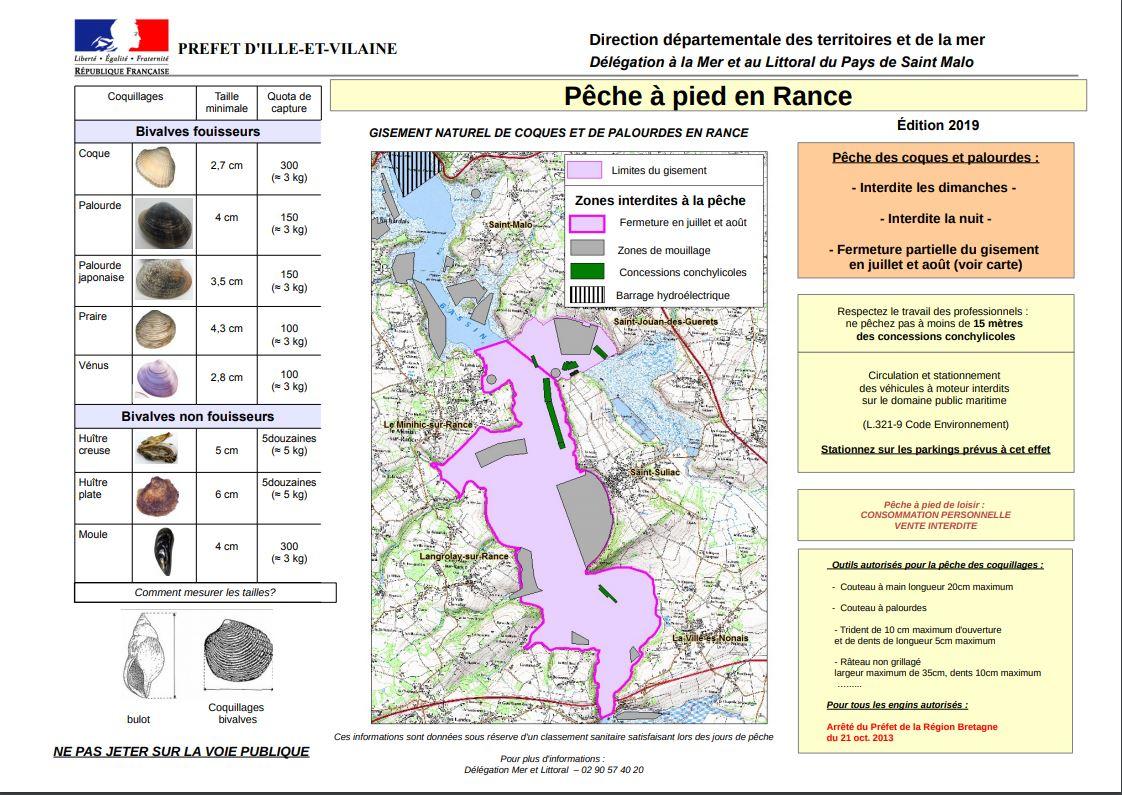 Carte zone rance peche a pieds 2019